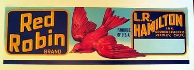 1960s Red Robin Bird Fruit Crate Label