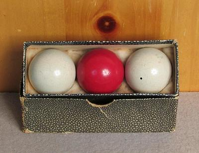 Vintage Set Three 3 Cushion Billiard Balls Set Cue Balls Pool White & Red 1 5/8""