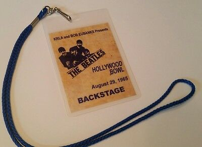 Beatles 1965 Back Stage Pass 2-sided!  Signatures + Lanyard LOOK!! new! lennon