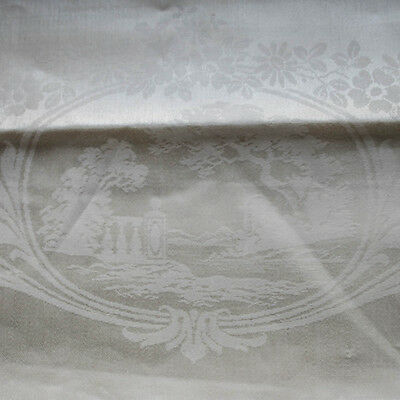 Vintage Irish Linen Double Damask Tablecloth Never Used 88 x 68