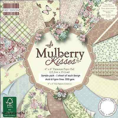Dovecraft Mulberry Kisses Papers 6 X 6 Sample Pack - 1 Of Each Design 16 Sheets