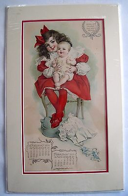Adorable 1905 Advertising Calendar for Resinol Soap - Drawing by Maud Humphrey *
