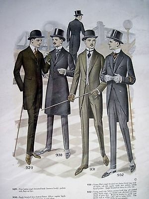 Fashionable 1920's Print of Men's Suits, Hats, Overcoats & Shoes *