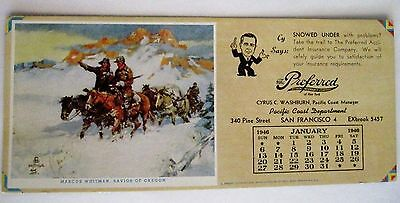 """Jan.1946 Ad Blotter """"The Preferred Accident Insurance Co."""" Western Collection *"""