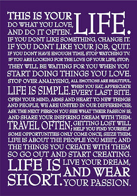 2020 diary Purple life quote  A5