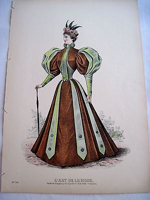 Stunning Vintage Fashion Advertising Print w/ Woman Wearing 1880's Dress A*