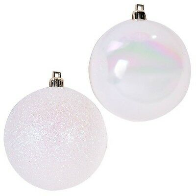 12 x Christmas White Glitter Baubles Balls Xmas Tree Ornaments Home Decoration