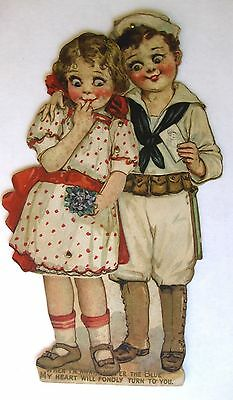 """Vintage 1910s WWI Mechanical """"While Im A Way"""" Card w/ Navy Couple"""