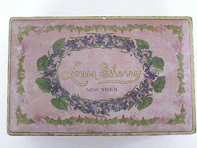 "Vintage 1940's Candy Tin ""Louis Sherry New York"" w/ Pretty Little Violets *"