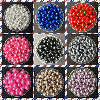 DIY 4mm 6mm 8mm 10mm Acrylic No Hole Round Pearl Loose Beads Jewelry Making uk