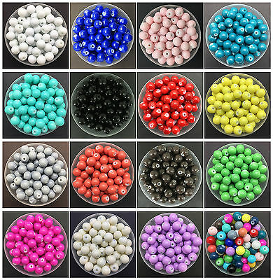 Wholesale 4mm 6mm 8mm 10mm Glass Round Pearl Spacer Loose Beads Jewelry Making Y