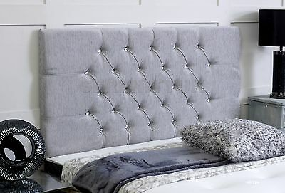 Chesterfield **grey Chenille** Diamonte Headboard Choose Your Size Free P/p