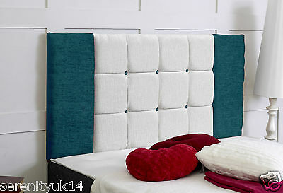 Oxford **teal & Cream Chenille** Headboard All Sizes Available Best On Ebay