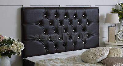 Chesterfield *faux Leather Diamante Headboard Choose Your Colour & Size Free P/p