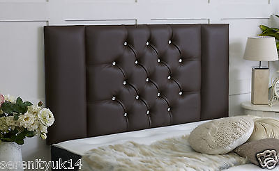 Brown Faux Leather Diamante Kingston Headboard All Sizes Available