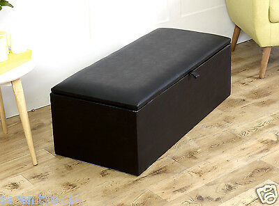 Princeton Faux Leather Ottoman Toy Storage Blanket Box Seat Stool Many Colours