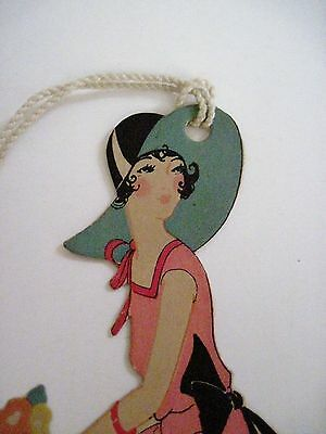 Vintage Art Deco Style Tally Card w/ Beautiful Woman In Summer Dress *