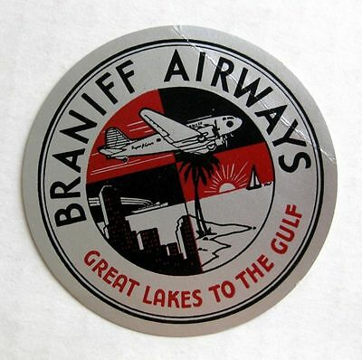 Vintage Braniff Airways Airlines Silver Foil Travel Luggage Label