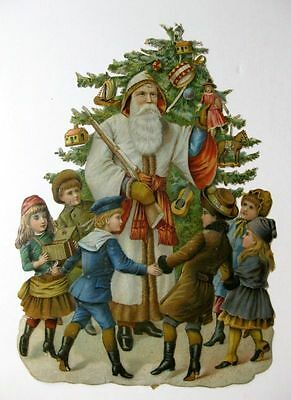 Vintage Die Cut Victorian Scrap of Father Christmas /European Santa w/ Children