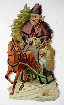 Vintage Die Cut Victorian Scrap of Santa Old Style Man in Horse Sled w/ Toys