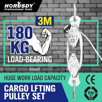 20M Cargo Lifting Rope Winch Hoist Pulley Puller Set Max Loading 180kg New