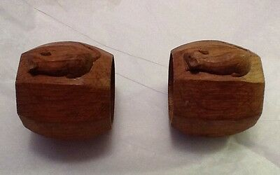 Robert Thompson Mouseman Napkin/Serviette Rings Hand Carved Wooden Mouse