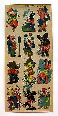 Vintage Sheet of 1940s Betty Boop and Other Character Decals Made in Japan