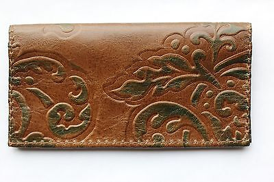 Elegant Chocolate W/ Green Leaves Embossed Leather Check Book Cover Free Ship