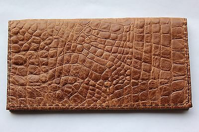 Peanut Butter Tan Alligator Embossed Leather Check Book Cover Free Ship