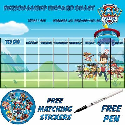 Paw Patrol Personalised reusable toilet Training Chart, free stickers & pen.1