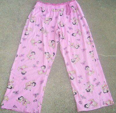 Betty Boop lounge drawstring pants pj bottoms 2005 Fleischer Studios Hearst pink