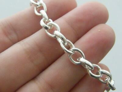 Silver Plated Link Chain Charm Bracelet  Large Heart Lobster Clasp 20cm M135 5