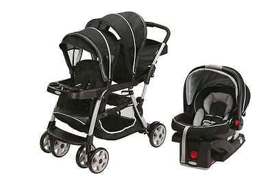 Double Twin Travel System w/ 1 Infant Car Seat Baby Kid Stroller Black New Graco