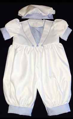Baby Boys White & Sky Blue Christening Romper With Cap Outfit Suit Baptism