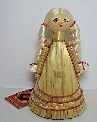 Russian Straw Corn Husk Doll Girl Blond Hair Tag Vintage Christmas Tree Topper