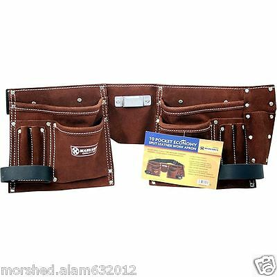 Builders Bag Belt 10 Pocket Double Split Suede Leather Tools Pouch Storage