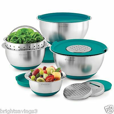 Wolfgang Puck Stainless Steel Mixing Bowls with Lids 12 Piece Set-Various Color