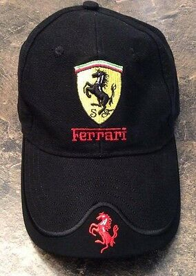 Ferrari Black Classic Youth Cap Hat w/Scuderia Logo Shield Adjustable Buckle