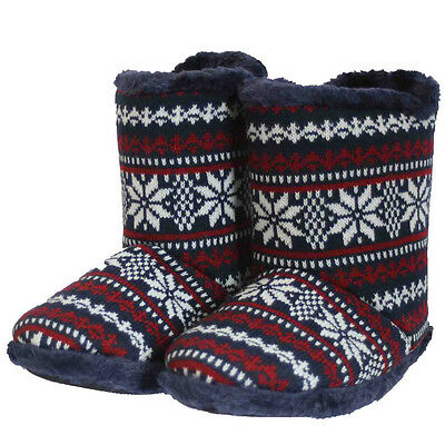 Coolers Mens Aztect Fur lined Warm Cosy Soft House Ankle Navy Slippers Boots NEW