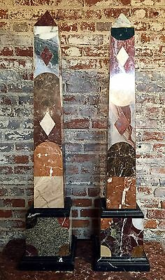 A Pair of Large 20th Century Italian Specimen Marble & Slate Obelisks