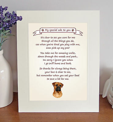 Bullmastiff Thank You FROM THE DOG Poem 8 x 10 Picture/10x8 Print Novelty Gift