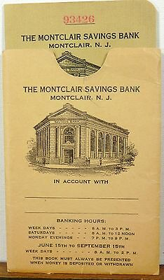 1941 Montclair New Jersey vintage Savings Bank account ledger booklet & sleeve