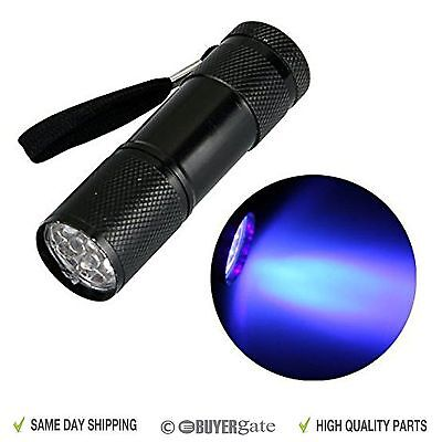 Aluminium UV Ultra Violet 9 LED Blacklight AAA Flashlight Torch Light Lamp UK