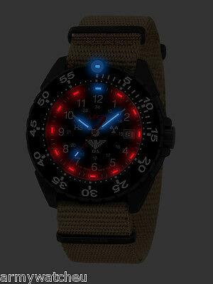 KHS Tactical Watches ENFORCER German Police H3 Watch Tritium Date Army Strap Tan