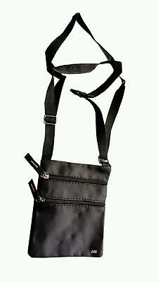Unisex Cross Body Over Shoulder Large Holliday Travel Side Bag Black Adjustable