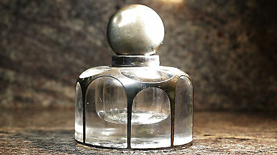 Antique Sterling Topped & Sterling Overlay Crystal Heavy LARGE Inkwell Bottle