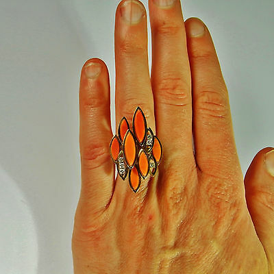 Natural Italian RED CORAL 14K Gold Ring Diamond Geometric Cocktail Modernist 70s