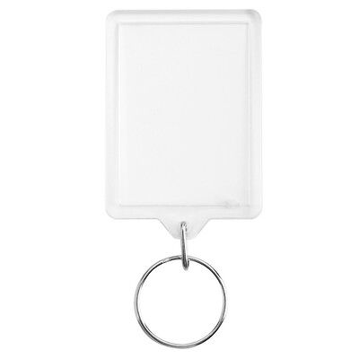 100pcs 50 X 35mm New Blank Clear Acrylic Photo Key Rings Passport Size Keyrings
