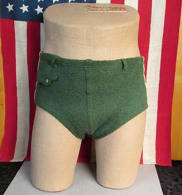 Vintage 1930s Mens Wool Knit Swim Suit Green Bathing Suit Board Shorts Antique