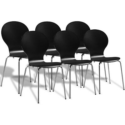6 Stackable Butterfly Dining Chairs Black Bentwood Wooden Steel Lightweight